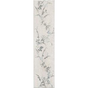 Плитка керамогранит Кантри Шик 9.9х40.2 белый декорированный