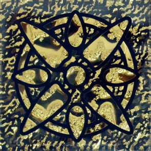 784 Вставка GRAND KERAMA скло Зірка золото рифл. 6.6х6.6