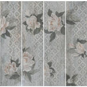 Плитка підлога Поджио 20х80 квіти сірий світлий обрізний