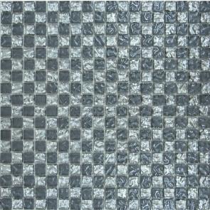 647 Мозаика шахматка серая рифленая-платина рифленая