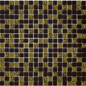 915 Мозаика микс шоколад - золото рифленое золото