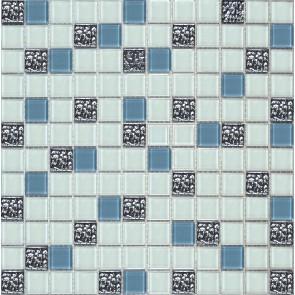 999 Мозаика микс белый-светло серый-платина рифл.