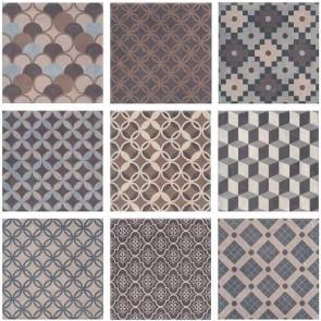 Плитка підлога Карнабі-Стріт 20.1х20.1 орнамент темно-сірий