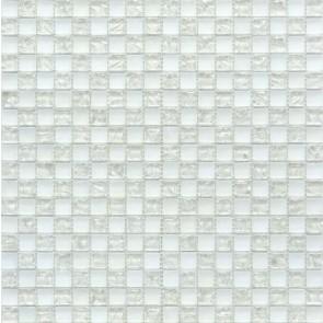 538 Мозаика шахматка белый матовый-белый колотый